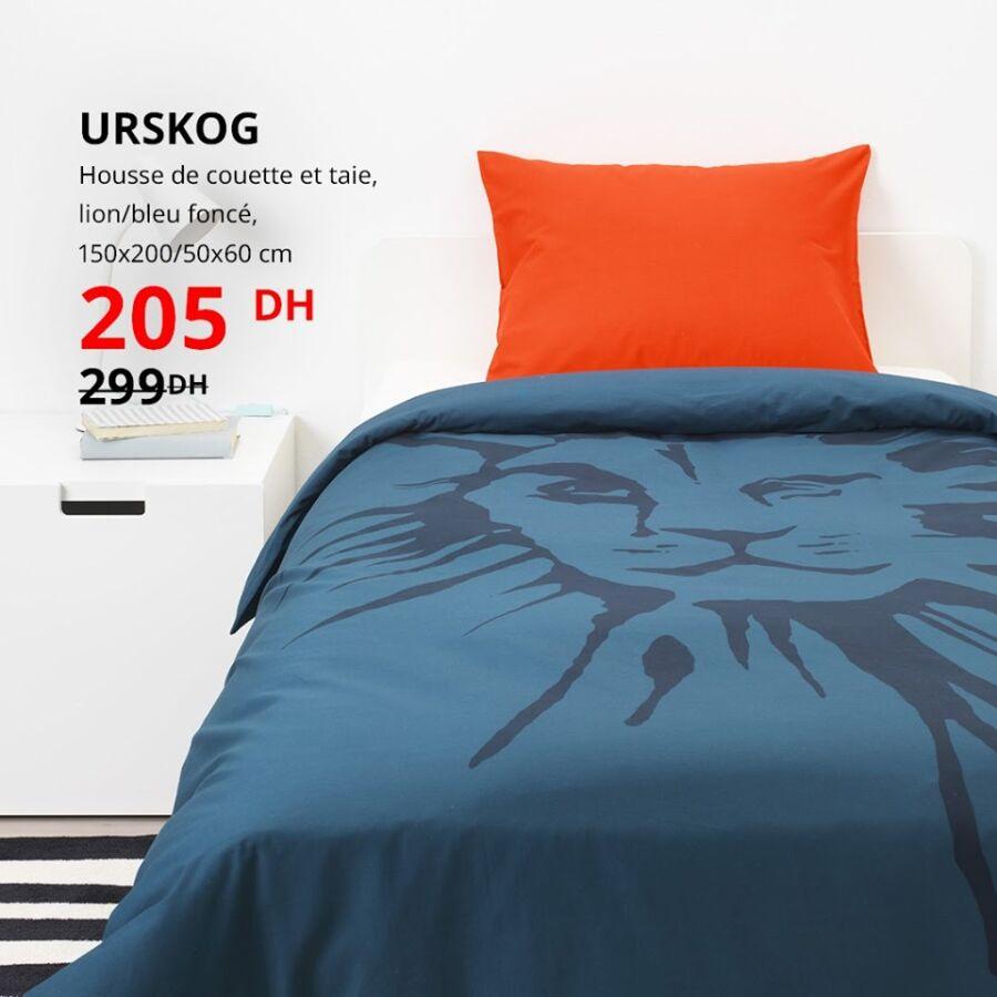 Soldes Ikea Maroc Housse de couette et taie URSKOG 205Dhs au lieu de 299Dhs