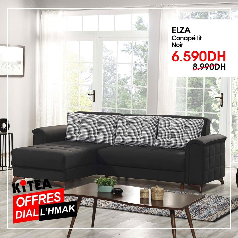 Soldes chez Kitea Canapé-lit noir ELZA 6590Dhs au lieu de 8990Dhs