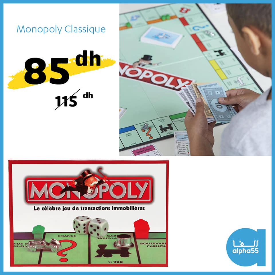 Soldes chez Alpha55 Jeux Monopoly classique 85Dhs au lieu de 115Dhs