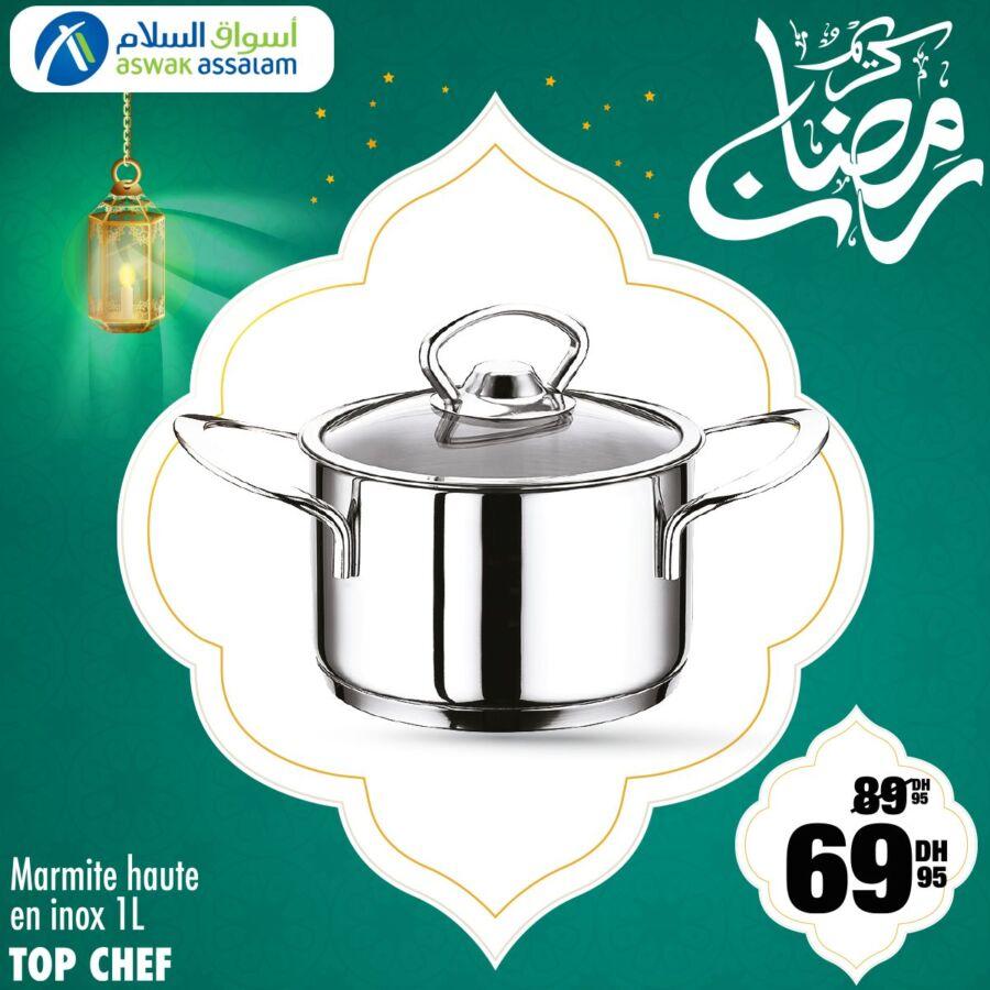 Soldes Aswak Assalam Marmite haute en inox 1L TOP CHEF 69Dhs au lieu de 89Dhs