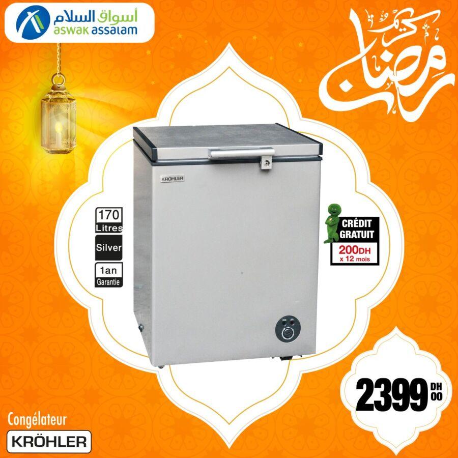 Offre du Ramadan Aswak Assalam Congélateur KROHLER 170L 2399Dhs