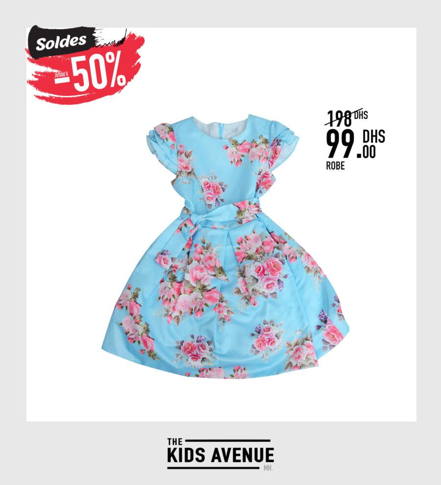 Soldes chez Kids Avenue MH Robe pour fille 99Dhs au lieu de 198Dhs