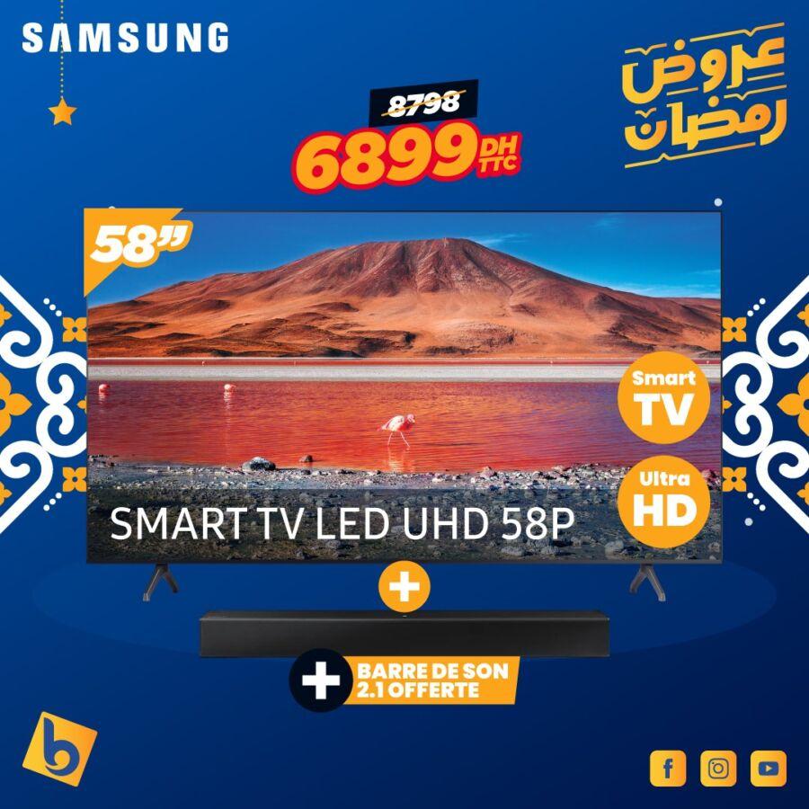 Soldes Electro Bousfiha Smart TV 58° UHD SAMSUNG 6899Dhs au lieu de 8798Dhs