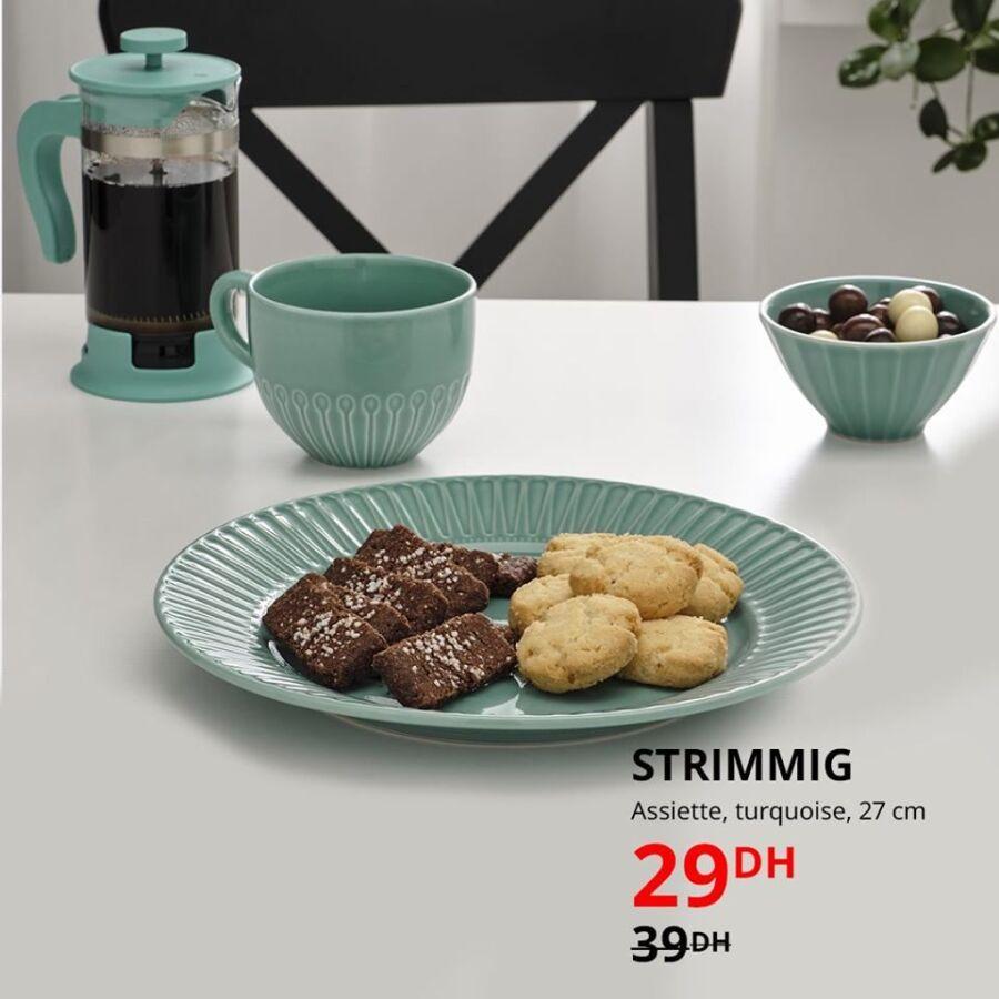Soldes Ikea Maroc Assiette turquoise 27cm STRIMMIG 29Dhs au lieu de 39Dhs