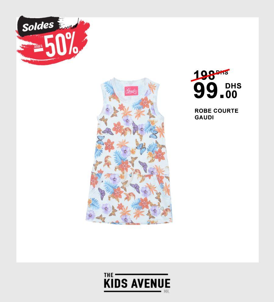 Soldes Kids Avenue MH Robe courte GAUDI 99Dhs au lieu de 198Dhs