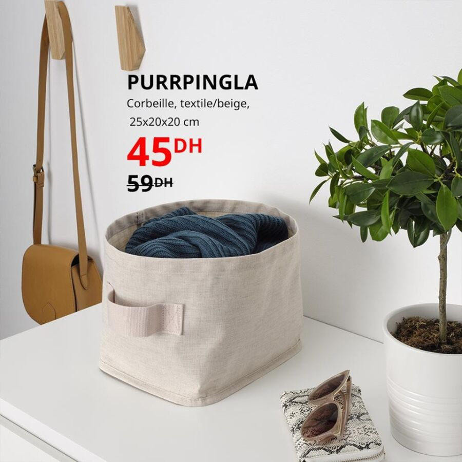 Soldes Ikea Maroc Corbeille textile PURRPINGLA 45Dhs au lieu de 59Dhs