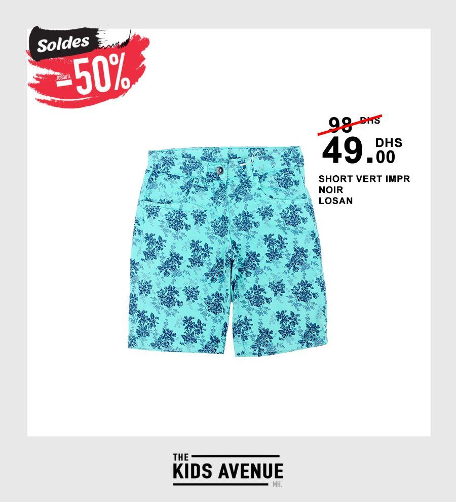Soldes Kids Avenue MH Short VERT IMPR NOIR LOSAN 49Dhs au lieu de 98Dhs