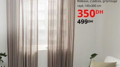Soldes Ikea Maroc Rideaux 2 pièces BERGSKRABBA 350Dhs au lieu de 499Dhs
