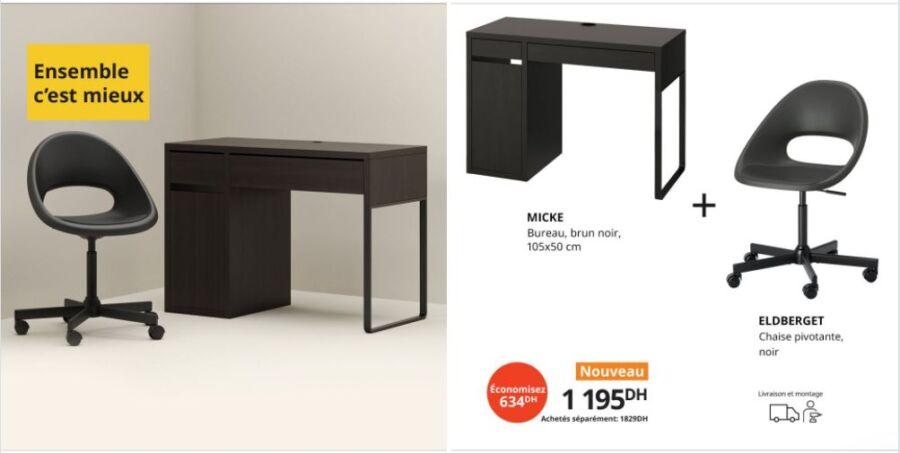 Ensemble c'est mieux Ikea Maroc Bureau + chaise 1195Dhs au lieu de 1829Dhs