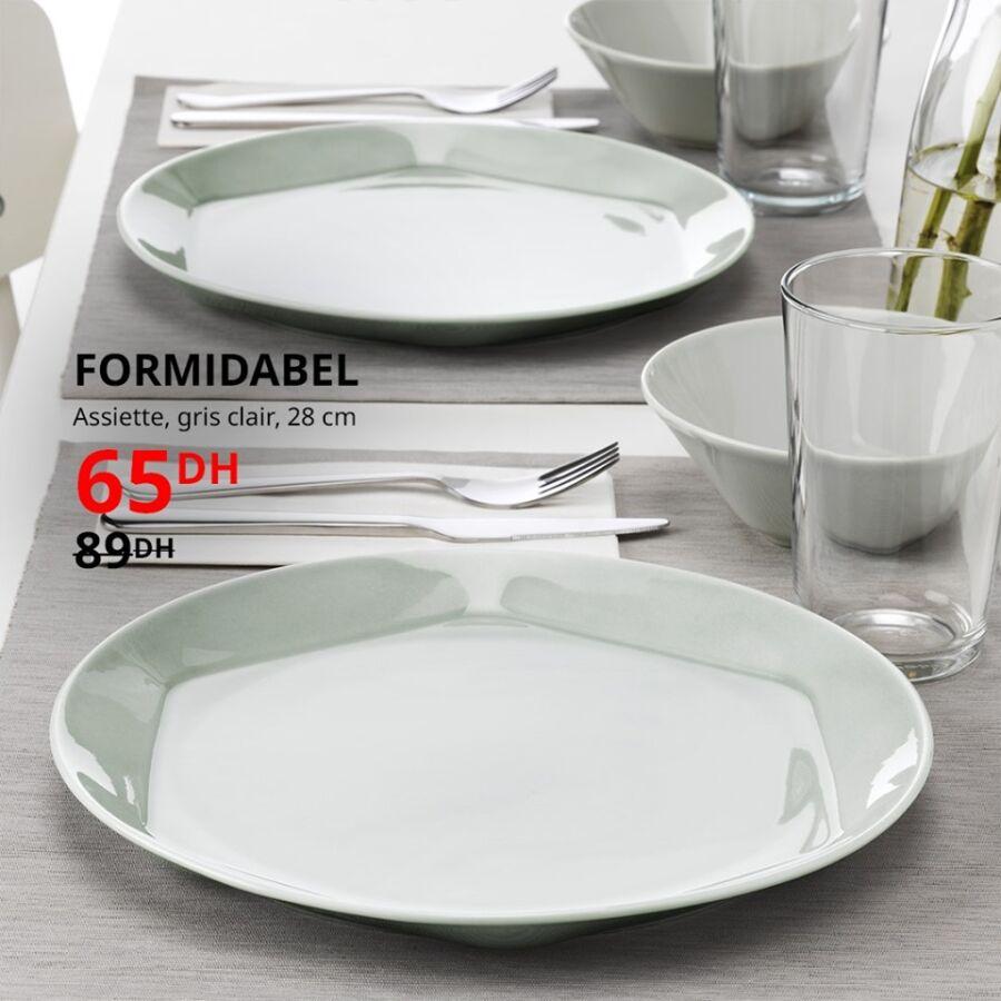 Soldes Ikea Maroc Assiette gris clair 28cm FORMIDABEL 65Dhs au lieu de 89Dhs