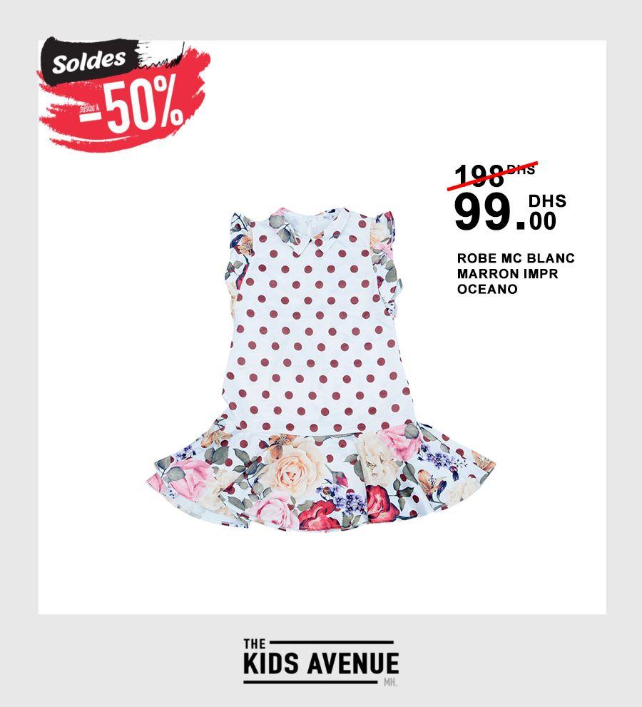 Sodles Kids Avenue MH Robes MC BLANC MARRON IMPR OCEANO 99Dhs au lieu de 198Dhs
