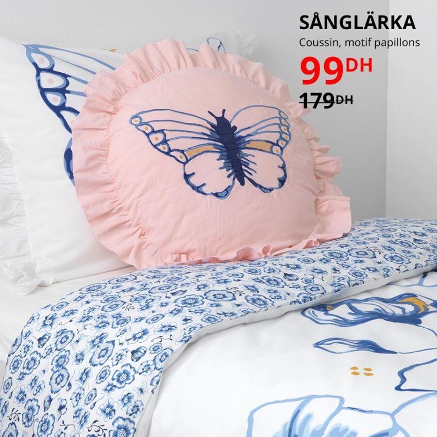 Soldes Ikea Maroc Coussin motif papillons SANGLARKA 99Dhs au lieu de 179Dhs