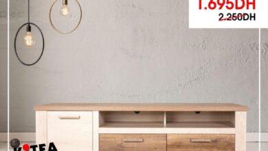 Soldes Kitea Grand meuble TV chêne blanc DURO 1695Dhs au lieu de 2250Dhs