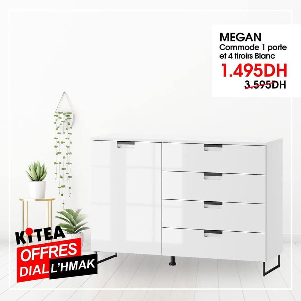 Soldes Kitea Commode 1 porte et 4 tiroirs MEGAN 1495Dhs au lieu de 3595Dhs