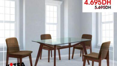Soldes Kitea Set table marron 4 chaise ARRY 4695Dhs au lieu de 5695Dhs