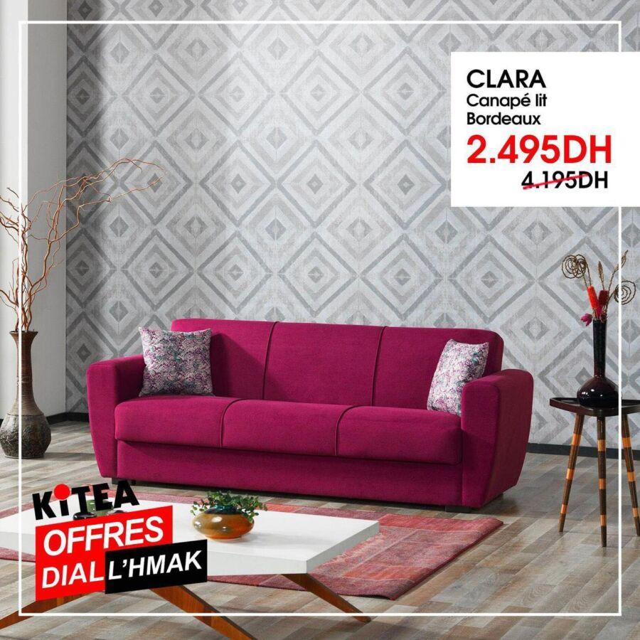 Soldes Kitea Canapé lit bordeaux CLARA 2495Dhs au lieu de 4195Dhs