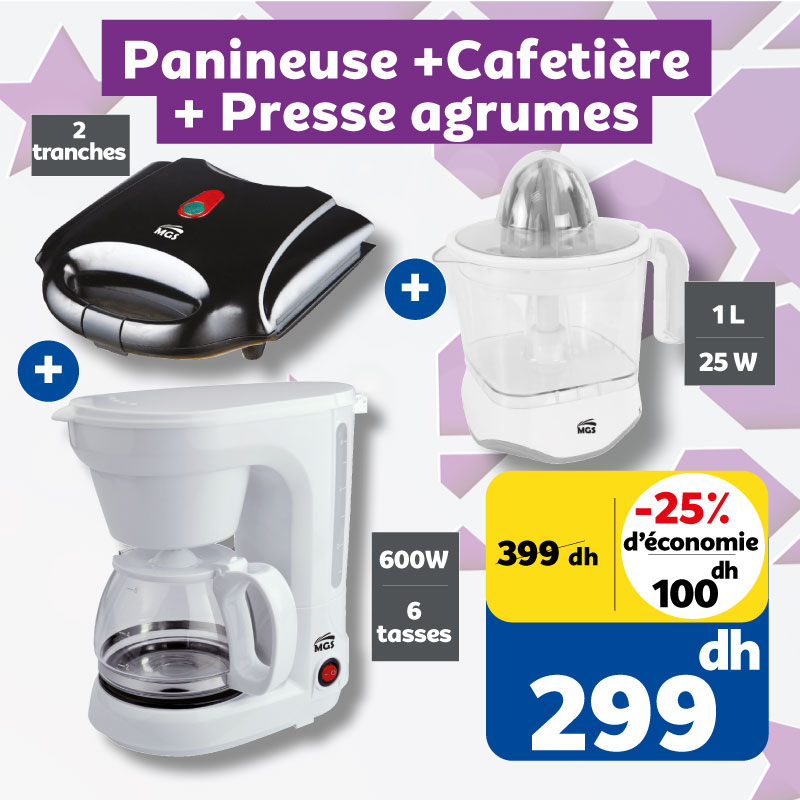 Soldes Marjane Trio MGS panineuse + cafetière + presse-agrumes 299Dhs au lieu de 399Dhs