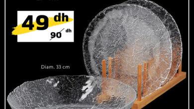 Soldes Alpha55 Pack de 3 pièces design verre Craquelé 49Dhs au lieu de 90Dhs