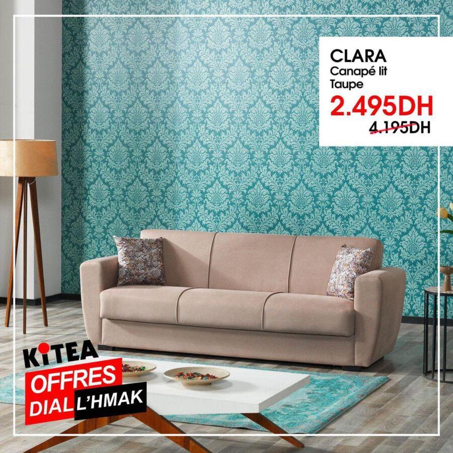 Soldes Kitea Canapé lit taupe CLARA 2495Dhs au lieu de 4195Dhs