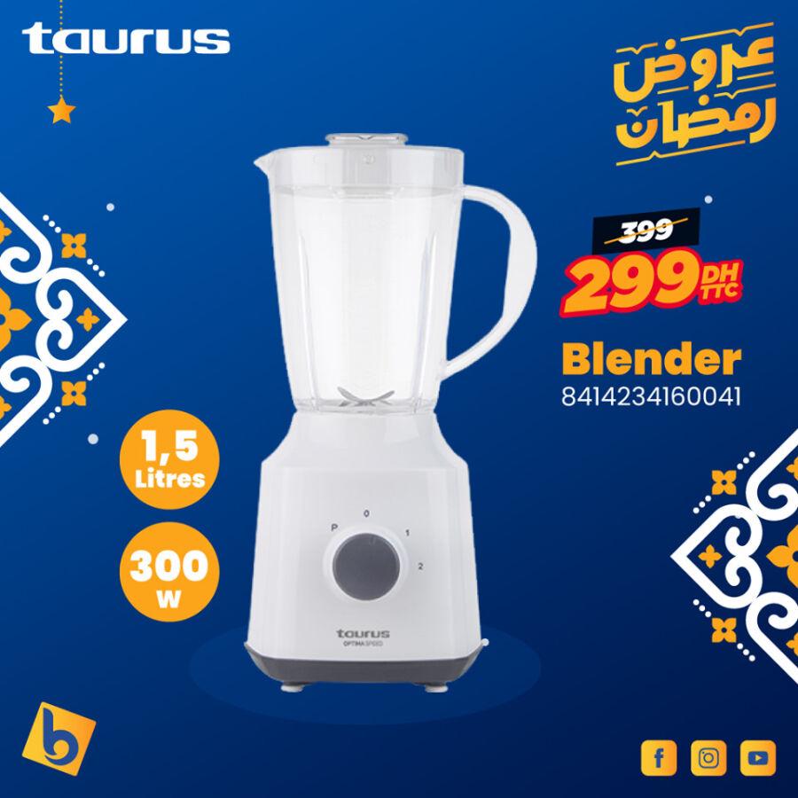 Soldes Electro Bousfiha Blender 1.5L TAURUS 299Dhs au lieu de 399Dhs