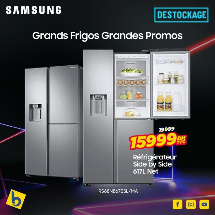 Déstockage Electro Bousfiha Réfrigérateur SbS 617L SAMSUNG 15999Dhs au lieu de 19999Dhs