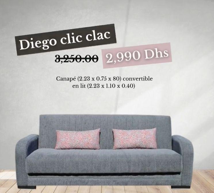 Soldes Yatout Home Canapé convertible DIEGO clic clac 2990Dhs au lieu de 3250Dhs