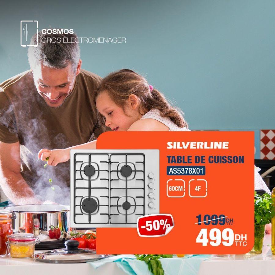 Soldes Cosmos Electro Table de cuisson SILVERLINE 499Dhs au lieu de 1099Dhs