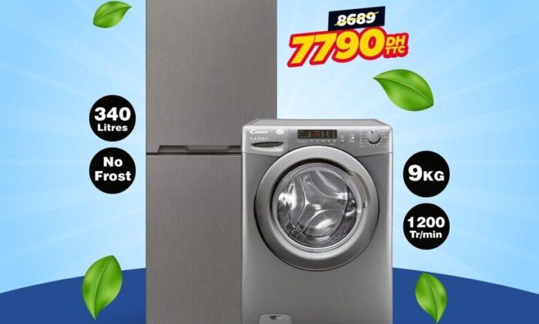Promo Printemps Electro Bousfiha Pack Combiné 340L + Lave linge 9kg CANDY 7790Dhs au lieu de 8689Dhs