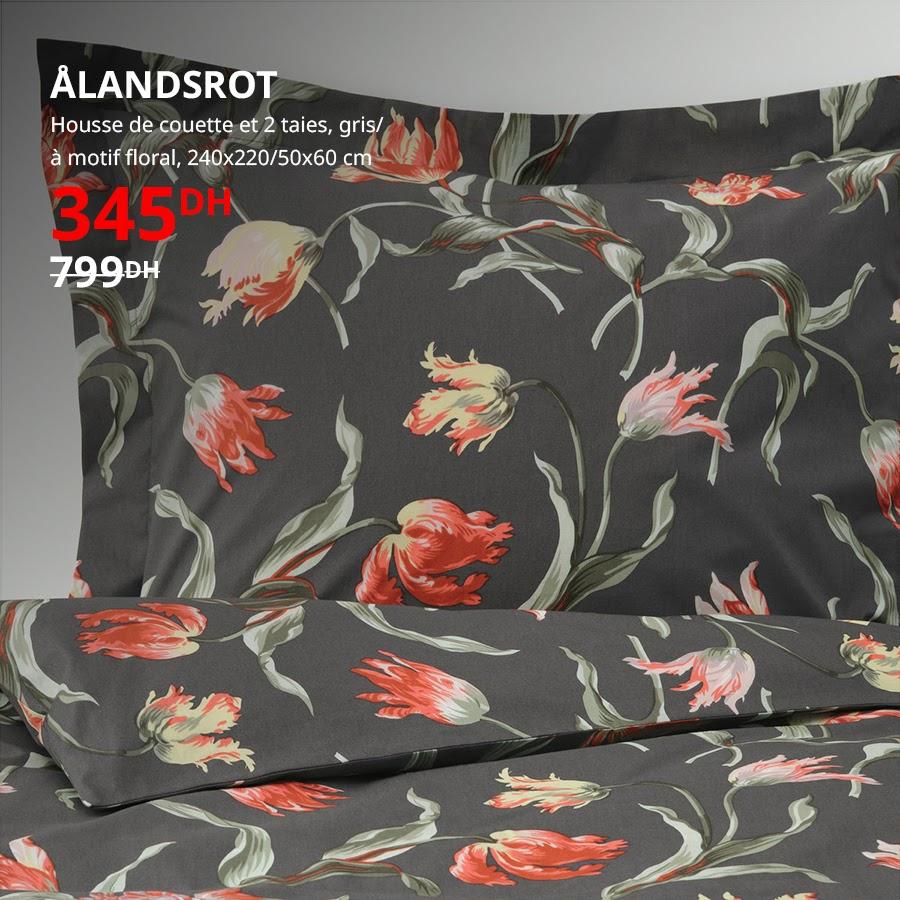 Soldes Ikea Maroc Housse de couette et 2 taies ALANDSROT 345Dhs au lieu de 799Dhs