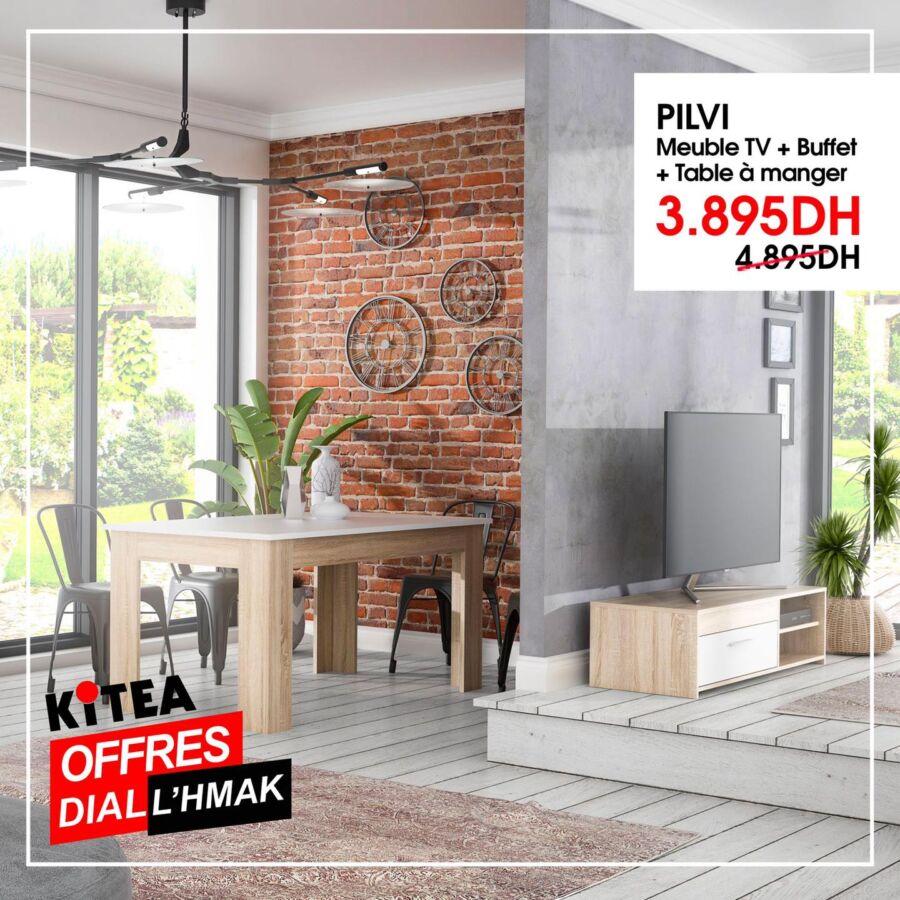 Soldes Kitea Meuble TV + buffet + table à manger PILVI 3895Dhs au lieu de 4895Dhs