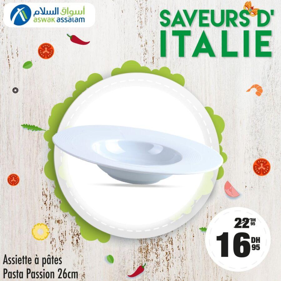 Soldes Aswak Assalam Assiette à pâtes PASTA PASSION 26cm 16.95Dhs au lieu de 22.95Dhs