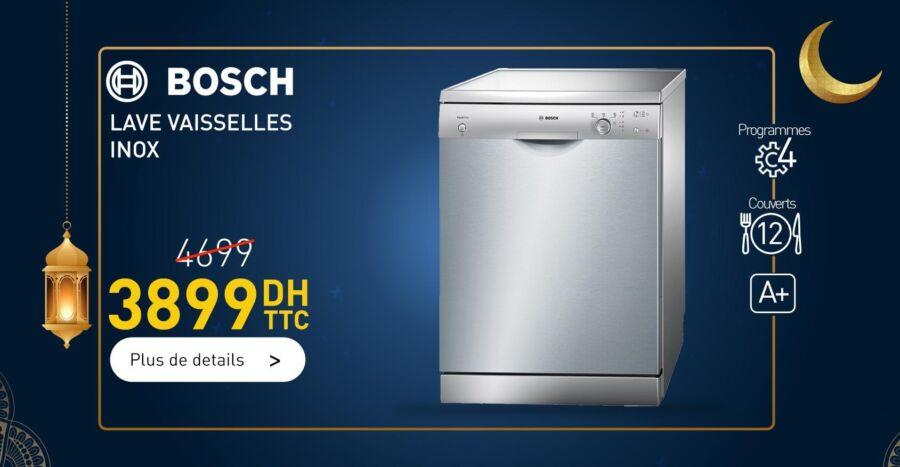 Soldes Biougnach Electro Lave vaisselle BOSCH 12couv 3899Dhs au lieu de 4699Dhs