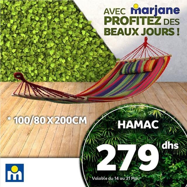 Offre Profitez des Beaux Jours chez Marjane Hamac 100/80x200cm à 279Dhs