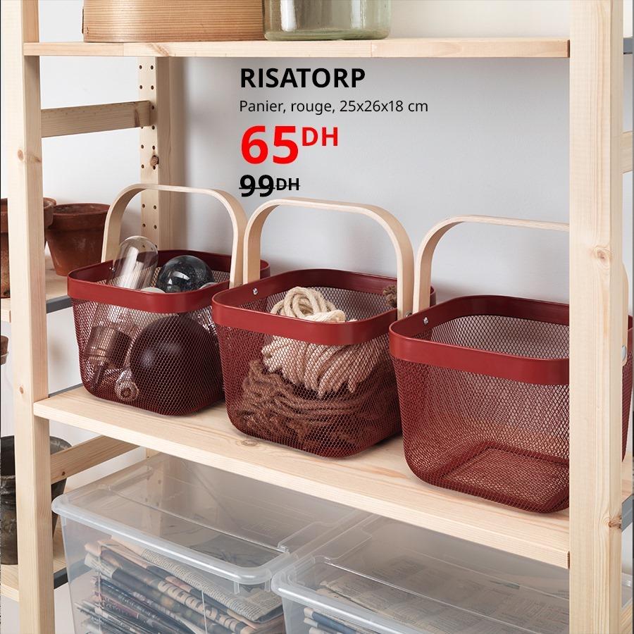 Soldes Ikea Maroc Panier rouge RISATORP 65Dhs au lieu de 99Dhs