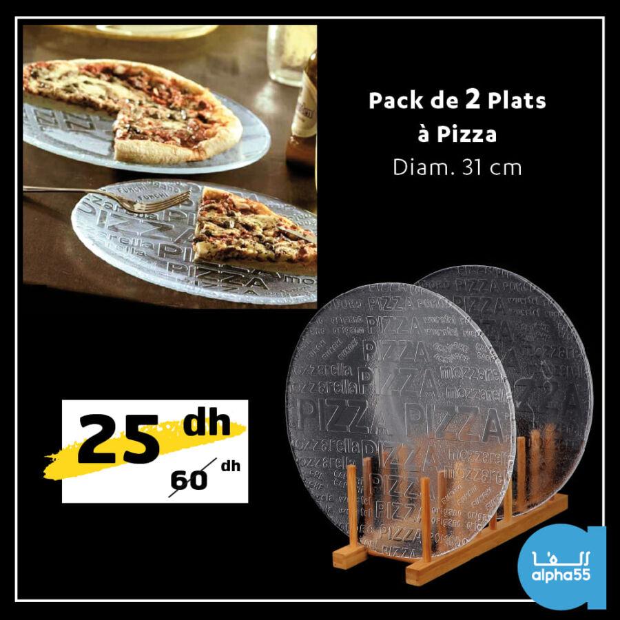 Soldes Alpha55 Pack de 2 plats à pizza 31cm 25Dhs au lieu de 60Dhs