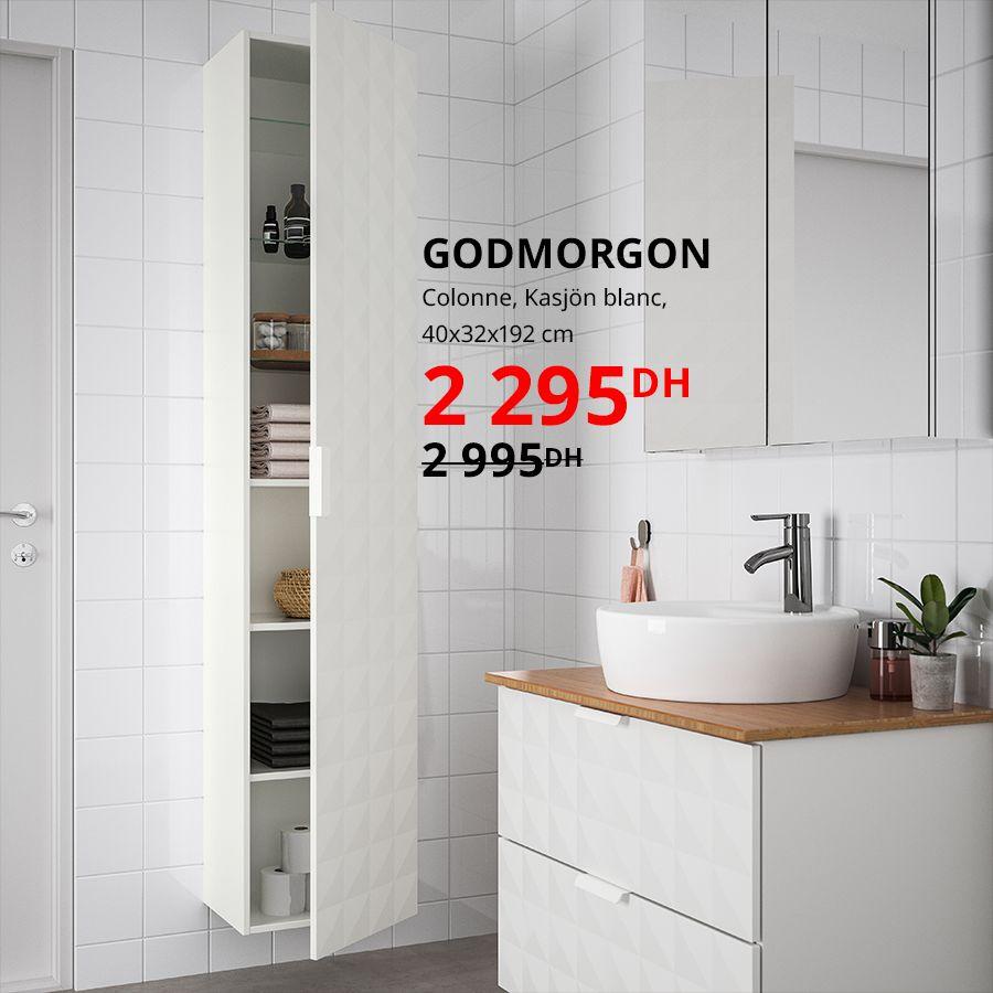 Soldes Ikea Maroc Colonne blanche GODMORGON 2295Dhs au lieu de 2995Dhs