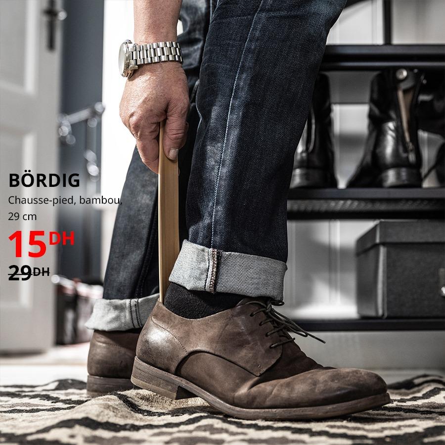 Soldes Ikea Maroc Chausse-pied en bambou BORDIG 15Dhs au lieu de 29Dhs