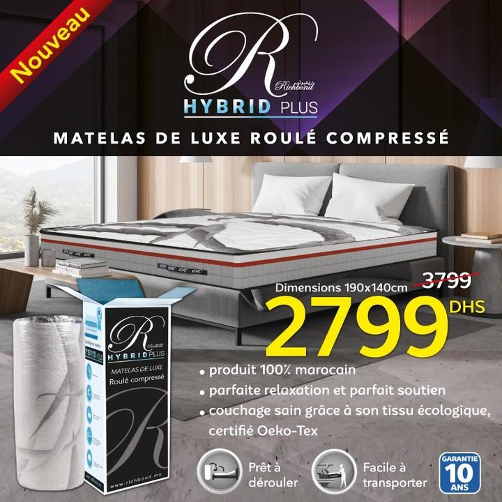 Soldes Marjane Matelas de luxe HYBRID PLUS Richbond 2799Dhs au lieu de3799Dhs