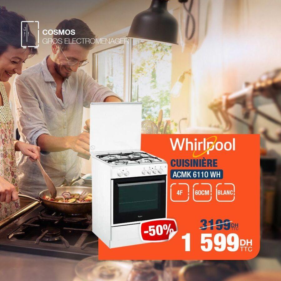 Soldes Cosmos Electro Cuisinière 4F WHIRLPOOL 1599Dhs au lieu de 3199Dhs