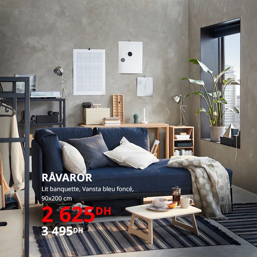 Soldes Ikea Maroc Lit banquette 90x200cm RAVAROR 2625Dhs au lieu de 3495Dhs