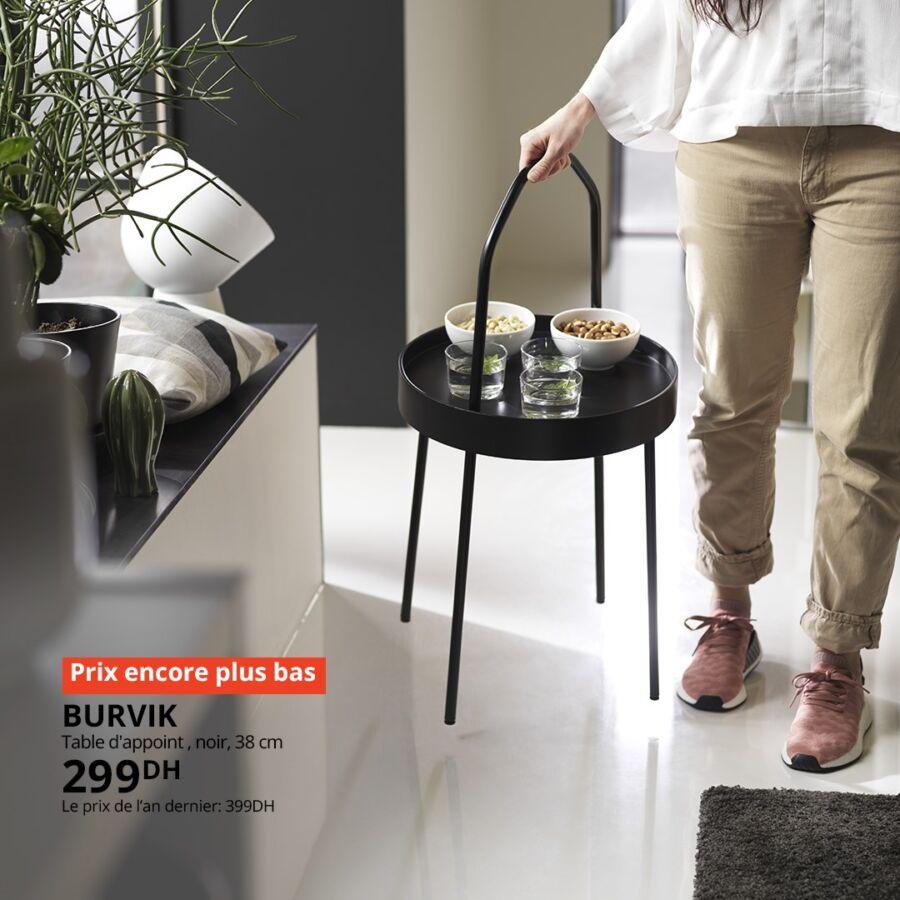 Soldes Ikea Maroc Table d'appoint BURVIK 299Dhs au lieu de 399Dhs