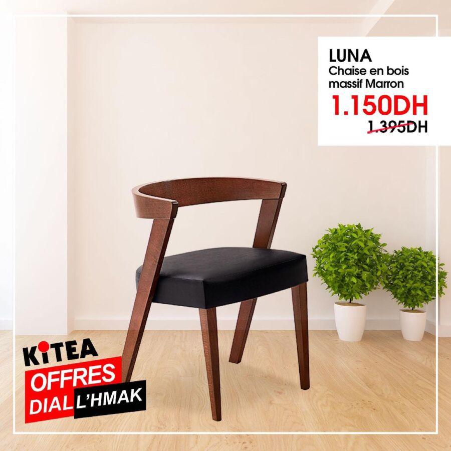 Soldes Kitea Chaise en bois massif marron LUNA 1150Dhs au lieu de 1395Dhs