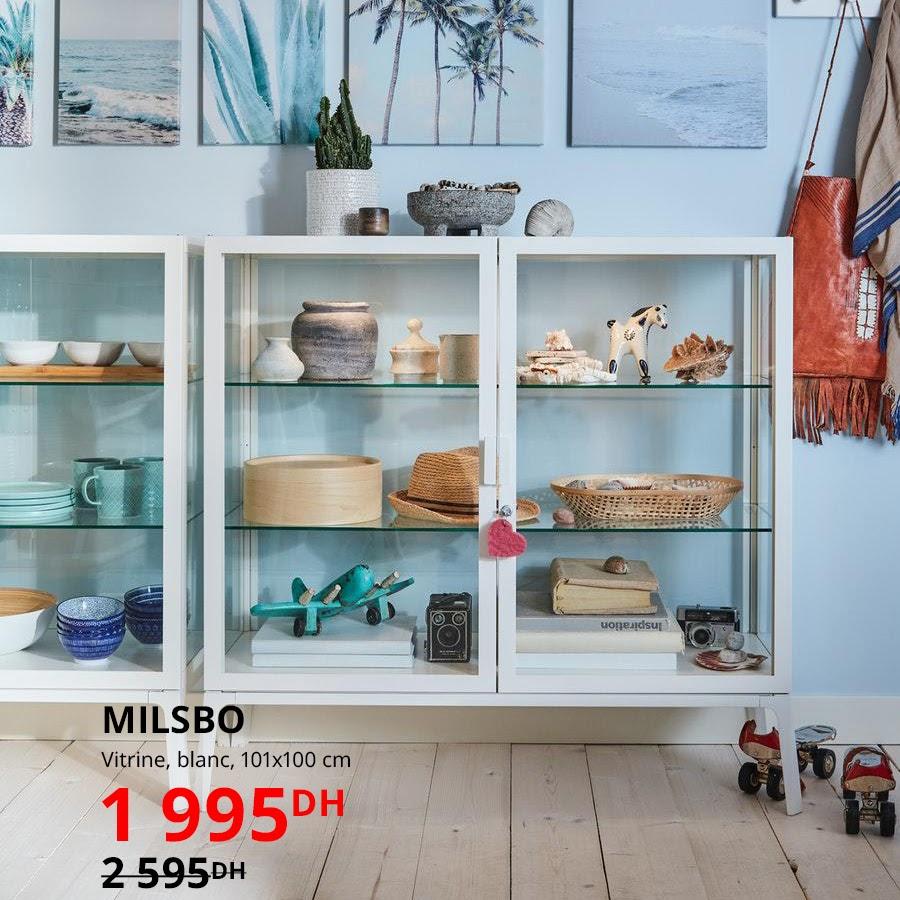Soldes Ikea Maroc Vitrine blanche MILSBO 1995Dhs au lieu de 2595Dhs