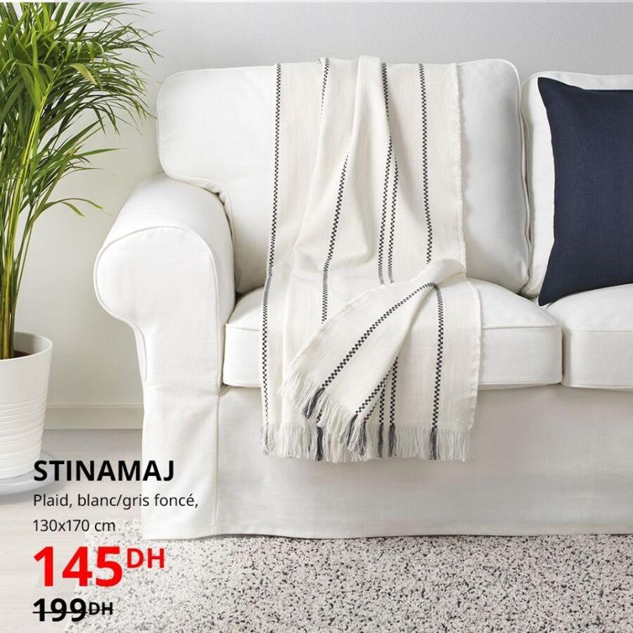 Soldes Aswak Assalam Plaid blanc gris foncé STINAMAJ 145Dhs au lieu de 199Dhs