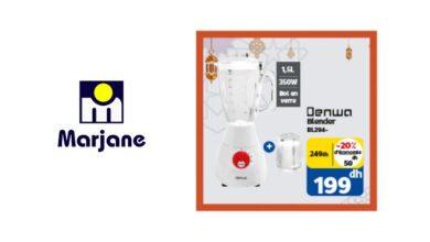 Soldes Marjane Blender DENWA 1.5L bol en verre 199Dhs au lieu de 249Dhs