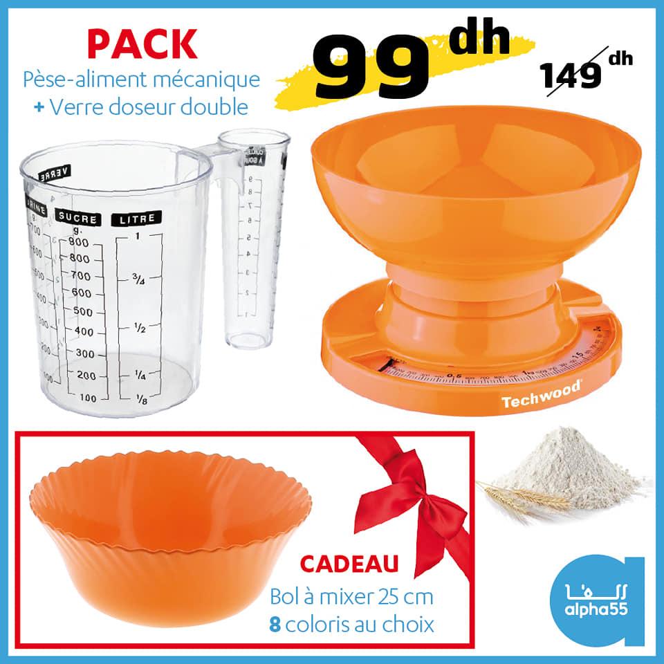 Soldes Alpha55 Pèse-aliment mécanique + verre doseur + cadeau 99Dhs au lieu de 149Dhs