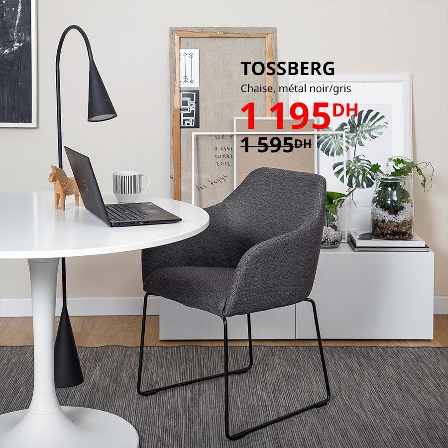 Soldes Ikea Maroc Chaise métal noir gris TOSSBERG 1195Dhs au lieu de 1595Dhs