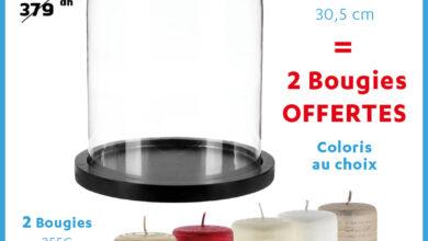 Soldes Alpha55 Cloche en verre sur socle en bois + 2 bougies 30.5cm 249Dhs au lieu de 379Dhs
