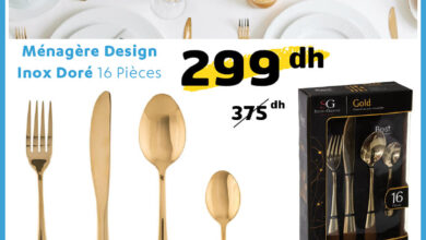 Soldes Alpha55 Ménagère Design inox doré 16 pièces 299Dhs au lieu de 375Dhs