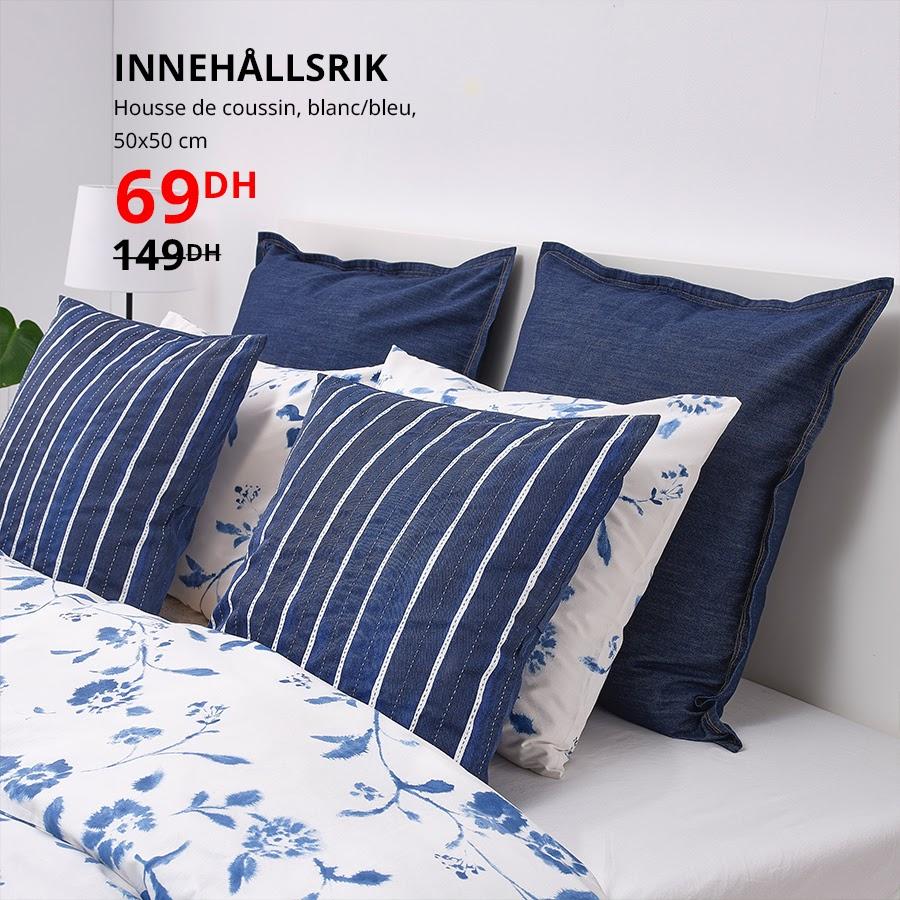 Soldes Ikea Maroc Housse de coussin 50x50cm INNEHALLSRIK 69Dhs au lieu de 149Dhs